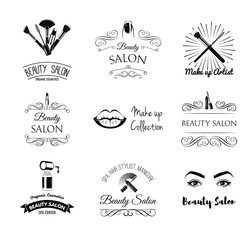 Beauty salon Set of Labels and Badges. Lips, Lipstick, Mascara , Eyelashes, Eye Brows, Nails, Manicure, Makeup, Vector Illustration. MakeUp Artist Shop