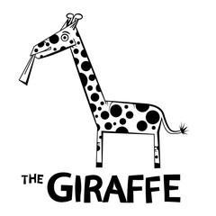 Giraffe - Outline Animal Illustration Isolated on White Background.