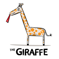 Giraffe Cartoon. Funky Giraffe Vector Illustration with Lick Tongue Isolated on White Background.