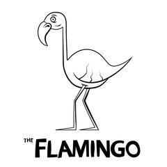 Flamingo Outline Cartoon - Vector Illustration