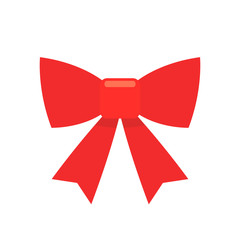 Red bow simple flat icon
