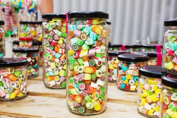 Caramel candy on street food festival.