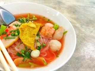 Closeup Thai noodle, yen-ta-fo, with copy space
