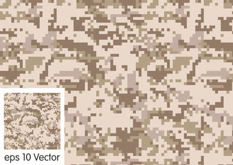 Seamless Digital Desert Camouflage pattern vector