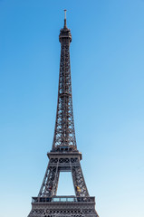 Detail of Eiffel tower on a sunny day
