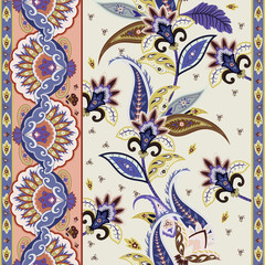 India paisley ornamental pattern. Seamless floral border. Decorative motif for wrapping, wallpaper, fabric