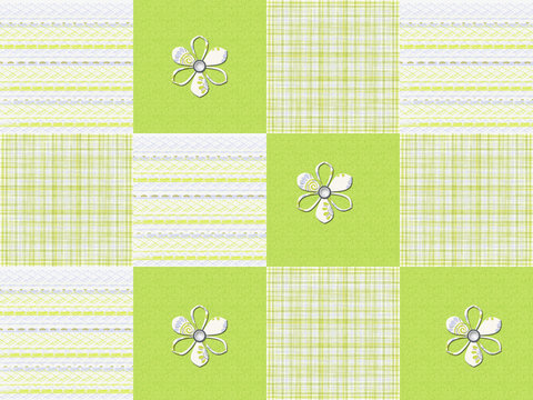 Lime green pattern striped squares