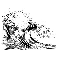 Vector Illustration of handdrawn handpicked waves