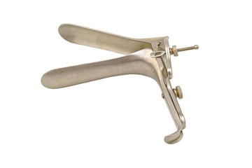 Medical equipment ,Gynecologic Speculum isolate on white background.Saved with clipping path.