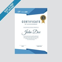Certificate decorated template with blue indigo royal shapes vector