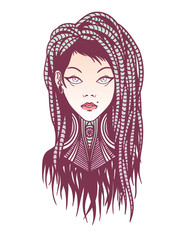 Stylish girl with dreadlocks, tattoo and piercing.
