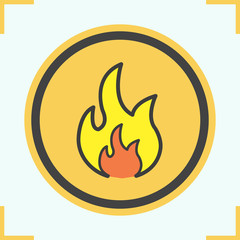 Flammable sign color icon