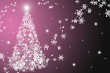 White snowflakes christmas tree at the pink and black background