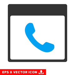 Phone Calendar Page icon. Vector EPS illustration style is flat iconic bicolor symbol, blue and gray colors.