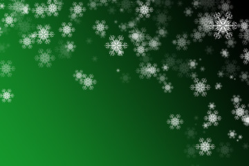 Christmas or new year background ,white snowflakes on the green and black