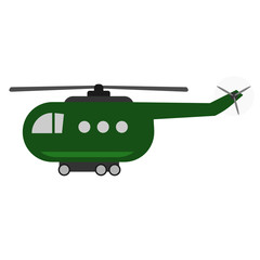 Vintage helicopter toy. Childish style. Green color. Isolated vector illustration.