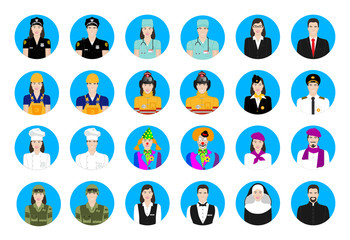 Icons profession set  in color male and  female
