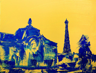 Orsay Museum and Eiffel tower on the original art painting