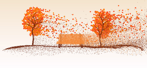 Autumn background from the particles. The wind carries leaves from the trees. Vector illustration