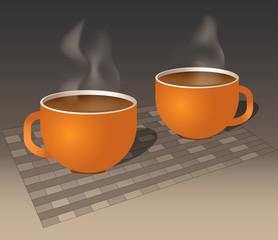 Burnt-orange coffee mugs steaming