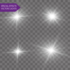 Glow light effect. sun Star burst with sparkles. Vector illustration