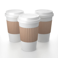 Thre paper cup with cap 3D rendering illustration