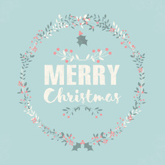 Merry Christmas postcard with lettering and floral wreaths