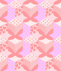 Seamless patchwork pattern with applique of pink butterflies.