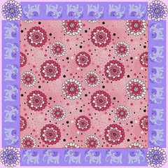 Floral bandana print with ornamental border. Silk neck scarf with beautiful flowers and elephants. Summer kerchief square pattern design style for print on fabric.