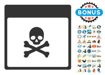 Poison Skull Calendar Page pictograph with bonus calendar and time management images. Vector illustration style is flat iconic symbols, blue and gray colors, white background.