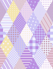 Seamless patchwork pattern from rhombus elements in pastel tones.