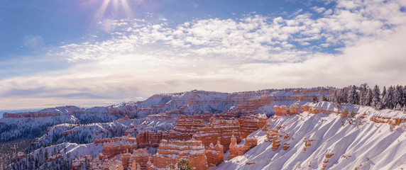 Panorama of Bryce Canyon in winter