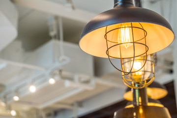 retro light bulb lamp decorate in loft style with space for text.