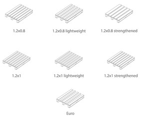 Pallets of various sizes in the linear design.