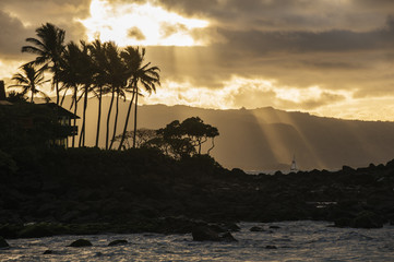 Sunset with seascape, Oahu, Honolulu, Hawaii, United States of America
