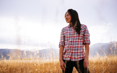 Woman in shirt and jeans, Jackson Hole, Jenny Lake, Grand Teton, Wyoming, United States of America