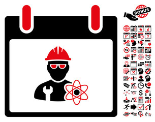 Atomic Engineer Calendar Day pictograph with bonus calendar and time management pictures. Vector illustration style is flat iconic symbols, intensive red and black, white background.