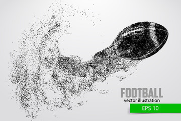 silhouette of a football ball from particle. Background and text on a separate layer, color can be changed in one click.