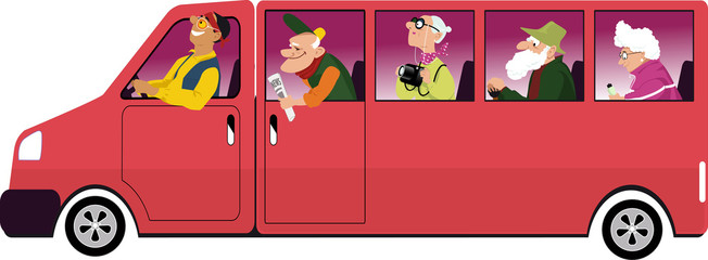 Group of active seniors riding in a van, EPS 8 vector illustration, no transparencies