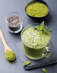 Matcha green tea chia seed pudding, dessert