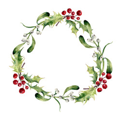 Watercolor christmas wreath with holly and mistletoe. Hand painted christmas floral border isolated on white background. Botanical illustration for design