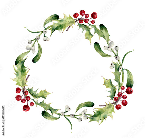 Watercolor Christmas Wreath Png.Watercolor Christmas Wreath With Holly And Mistletoe Hand