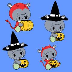 cute baby hippo halloween cartoon set in vector format