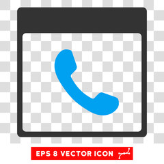 Vector Phone Calendar Page EPS vector pictogram. Illustration style is flat iconic bicolor blue and gray symbol on a transparent background.