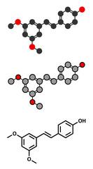Pterostilbene molecule. Stylized 2D renderings and conventional skeletal formula.
