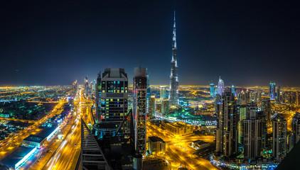 Panorama of Dubai at night