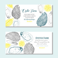 Oyster horizontal banner collection. Oyster hand drawn in ink illustration. Vector vintage illustration. Line art graphic. Oysters horizontal flyer set for farm or a restaurant design.