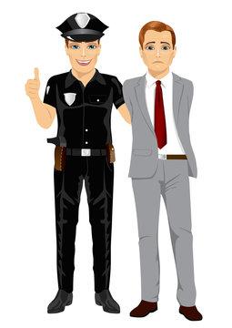 Policeman arresting businessman. White collar criminal isolated white background