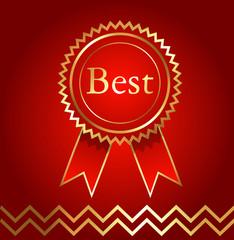 Best Golden Ribbon Badge Vector