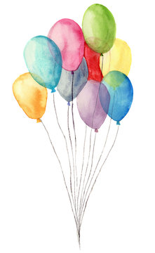 Watercolor air balloons. Hand painted illustration of blue, pink, yellow, purple balloons isolated on white background. Party or greeting object